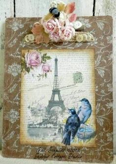 Inspiration only...could do a background stencil and use Mod Podge to adhere the image.  Pretty.