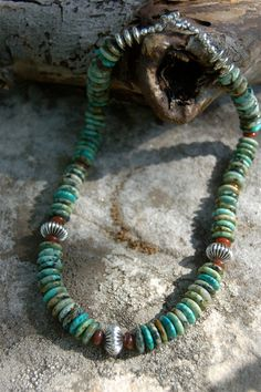 African Turquoise Jasper & Carnelian Necklace by cherries33