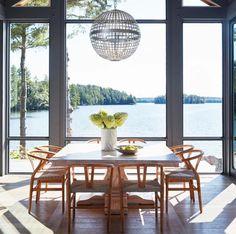 Modern cottage on Lake Rosseau in Muskoka, Ontario, Canada (Muskoka Living) Cottage Design, House Design, Home Interior, Interior Design, Relaxing Holidays, Wide Plank Flooring, Visual Comfort, Lake Life, Building Design