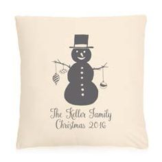 Thirty-One Statement Canvas Pillows with Snowman Holiday Personalization