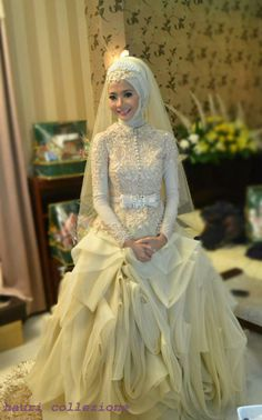 SA3964 High neck ong sleeves hijab new design muslim wedding dress 2013