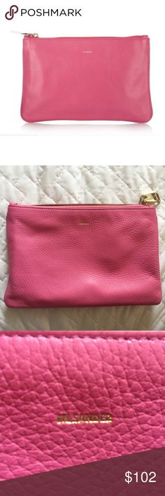 """👛 Jil Sander Pebbled Pink Leather Clutch Pouch 👛 Jil Sander Pebbled Pink Leather Clutch Pouch. 6""""X9"""" Feel free to make an OFFER!! 👌🏻💕 All of my items come from a smoke free and pet free home! Happy to bundle multiple items!! 🌺🌼🌸 Cheers!✨ Jil Sander Bags Clutches & Wristlets"""