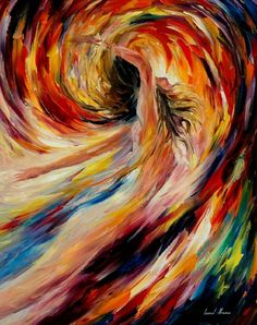 """In the Vortex of Passion"" by Leonid Afremov artwork"
