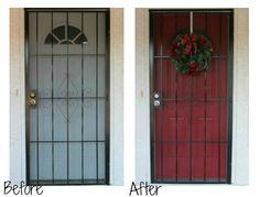 Red Front Door with Security Screen Door.  She painted the door BRIGHT red, but the screen tones it down.