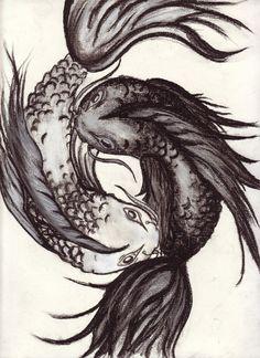 Yin Yang coy in charcoal. @deviantART