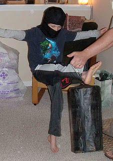 """a """"kick bag"""" pinata for a ninja party"""