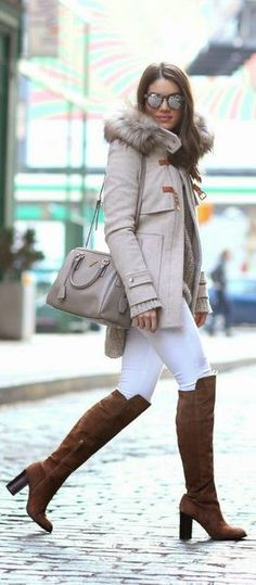 WINTER IN NYC! - Classic Winter Jacket, Skinny Jeans in White, Brown Leather Hunter Booties / Camila Coelho