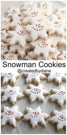 Snowman Snowflake Cookies Created by Diane christmas baking day Christmas Cookie Exchange, Christmas Sugar Cookies, Christmas Sweets, Christmas Cooking, Holiday Desserts, Holiday Baking, Holiday Treats, Holiday Recipes, Holiday Cookies