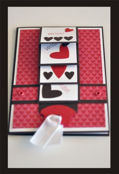 #handmadevalentinecard ... red, white and black ... waterfall design ... luv the crisp look and the patterns of die cut hearts on the waterfall blocks ... Stampin'Up!