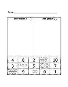 "This worksheet aligns with the Kindergarten Common Core. It allows students to practice ""more than and less than"" using numerals and other representations of these numbers. The students sort into ""more than 6"" or ""less than 6"". This worksheet can also be used as an assessment."