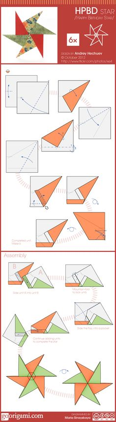 Learn how to fold 6-pointed HPBD origami star (design by Andrey Hechuev). Diagram, photo and description. Perfect as Christmas decoration!
