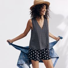 madewell straw mesa hat worn with the overlay jumpsuit + oversized jean jacket.
