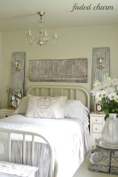 This is exactly what I want to do - back our bedside tables with old doors or shutters and add sconces! Love the look!From My Front Porch To Yours: How I Found My Style Sundays- Faded Charm