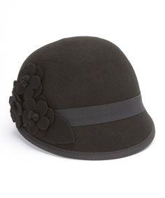 Love this Jeanne Simmons Accessories Black Flower Wool Cloche by  on #zulily! #zulilyfinds