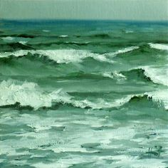 Rough Sea by Liza Hirst. I just love ocean paintings, and these colors are my fave!