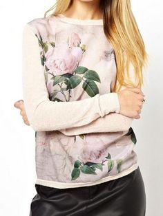 Knitted Sweater With Woven Front Panel In Floral Print | Choies