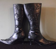 Unique Black Beaded and Embroidered Boots Size by EnchantedThreadz, $29.95