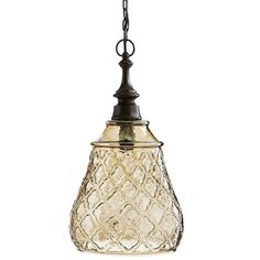 A common theme from Gothic architecture and the Renaissance era, the four-leaf quatrefoil design remains appealing. Here, the pattern is embossed across our lustrous glass pendant to insure it sheds a warm, textured glow wherever it's hung. Bronze-colored hardware finishes the timeless look, making it as compelling today as it was yesteryear.