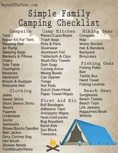 tent camping checklist simple easy basic free printable