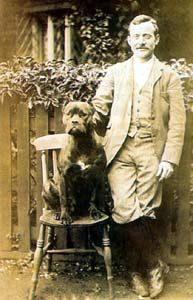 The original Boxer, with the father of the breed, Friedrich Robert. 1890's.