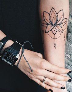 Lotus Flower Wrist Tattoo Ideas for Women - Black Chandelier Lace Arm Tat MyBodiArt.com