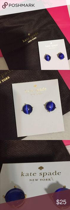 Kate Spade ♠️ Post Earrings Deep Blue Indigo Color; Gold Toned; Post Earrings | New dust bag included.  These are authentic kate♠️️spade earrings. kate spade Jewelry Earrings