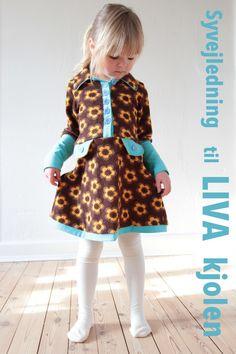 Her kan du se, hvordan du syr LIVA kjolen, som har krave og pyntelommer.   Mønsteret har jeg designet, og det kan du købe lige her ...