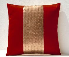 Throw Pillows -Red gold color block in silk and sequin bead detai- Couch pillows- Sofa pillow- 16X16 red pillow- Gift pillow- Toss pillows.