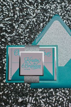 Fabulous Sparkly and Fancy Teal and Silver Glitter Foil Wedding Invitations. NICOLE Glitter Collection by Just Invite Me