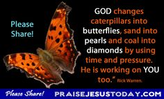 """""""God changes caterpillars into butterflies, sand into pearls and coal into diamonds by using time and pressure. He is working on you too."""" Rick Warren."""