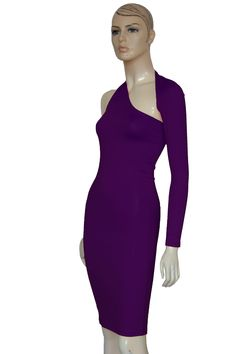 759eae8c43 Plum casual dress. Open back pencil dress. One shoulder cocktail bodycon.  Sexy fitted
