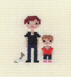 Helen, Travis and Minnie Pixel Portrait - custom portraits available on Etsy > http://www.etsy.com/listing/89683168/custom-cross-stitch-pixel-family