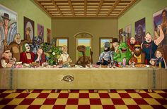 Artist Bill McConkey created an amusing illustration that features several iconic pop-culture characters from the '80s. He called it The 80's Last Supper.