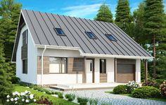 Dom z nowoczesną elewacją - Biała elewacja z drewnianymi elementami. #projekty #domów