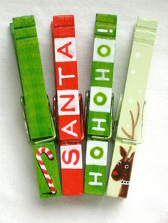 CHRISTMAS CLOTHESPIN hand painted magnetic pegs. $10.00, via Etsy.