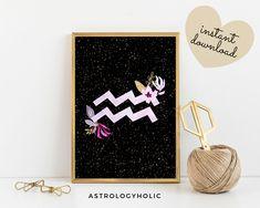 Aquarius Zodiac Printable, Astrology Wall Art, Star Sign, Birthday gift, Floral Print, Constellation, Digital Download Aquarius Zodiac, Astrology Zodiac, International Paper Sizes, Constellations, Birthday Gifts, Floral Prints, Printables, Colours, Sign