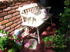 Painted bench on front porch