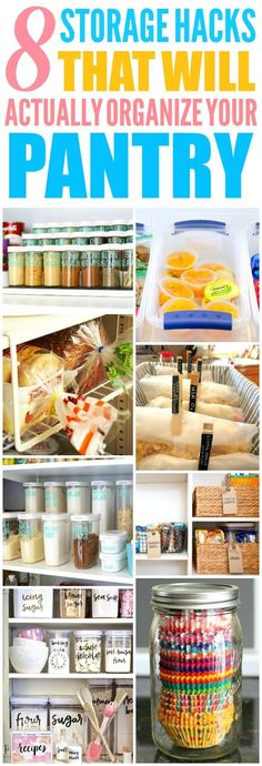 These 8 Clever pantry organization and storage hacks and tips are THE BEST! I'm so happy I found these AMAZING ideas! Now I have some great ways to organize my pantry and keep it that way!