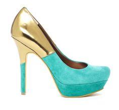 Color block heel with metallic detail