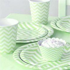 green chevron paper plate set  Kids birthday party ideas, cool parties, kids parties, birthday party