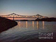 Winona Minnesota Art - Winona Bridge at Sunset by Kari Yearous  Winona MN photo.