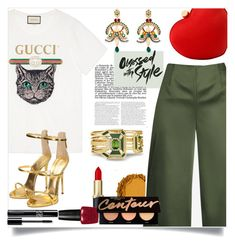 """Teeing it Up - Top Fashion Set for Jan 29th, 2018"" by celeste-menezes ❤ liked on Polyvore featuring Urban Decay, Gucci, Ted Baker, Giuseppe Zanotti, Santi, Dolce&Gabbana and MyFaveTshirt"