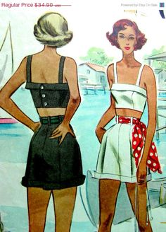 . vintage sewing pattern.  Need this pattern, I'd love to make matching tops and bottoms (and circle skirts).