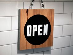 Open closed sign - black and white paint on salvaged hardwood plywood Closed Signs, Open Signs, Diy Signs, Shop Signs, Open Close Sign, Sign Board Design, Hardwood Plywood, Reclaimed Lumber, Shop House Plans