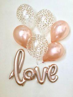 Love Rose Gold Script Balloon~Rose Gold Balloons~Wedding Shower Decor~Gold Confetti Balloon~Bridal S Engagement Balloons, Wedding Balloons, Balloon Centerpieces Wedding, Wedding Shower Decorations, Birthday Decorations, Gold Confetti Balloons, Gold Bridal Showers, Love Balloon, Ballon