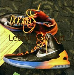 f0329b2291c Kevin Durant shoes 2013 Nike KD V Thunder Gradient PE Lebron 15 Shoes