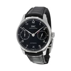 IWC Portugieser Automatic Black Dial Black Leather Mens Watch IW500703