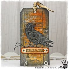tammy tutterow | Spooky Raven Tag http://tammytutterow.com/2013/09/tim-holtz-spooky-raven-tag/?