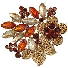 nice EVER FAITH Gold-Tone Rhinestone Crystal Hibiscus Flower Leaf Brooch Brown