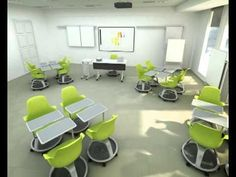 Spinny chairs under furniture for the learning spaces This video about flexible classroom furniture BLEW MY MIND. So cool, so practical. If it weren't for students racing around on wheels, I'd think about it being library furniture! Modern Classroom, New Classroom, Classroom Setting, Classroom Design, Classroom Organization, Classroom Decor, Classroom Layout, Classroom Furniture, Library Furniture